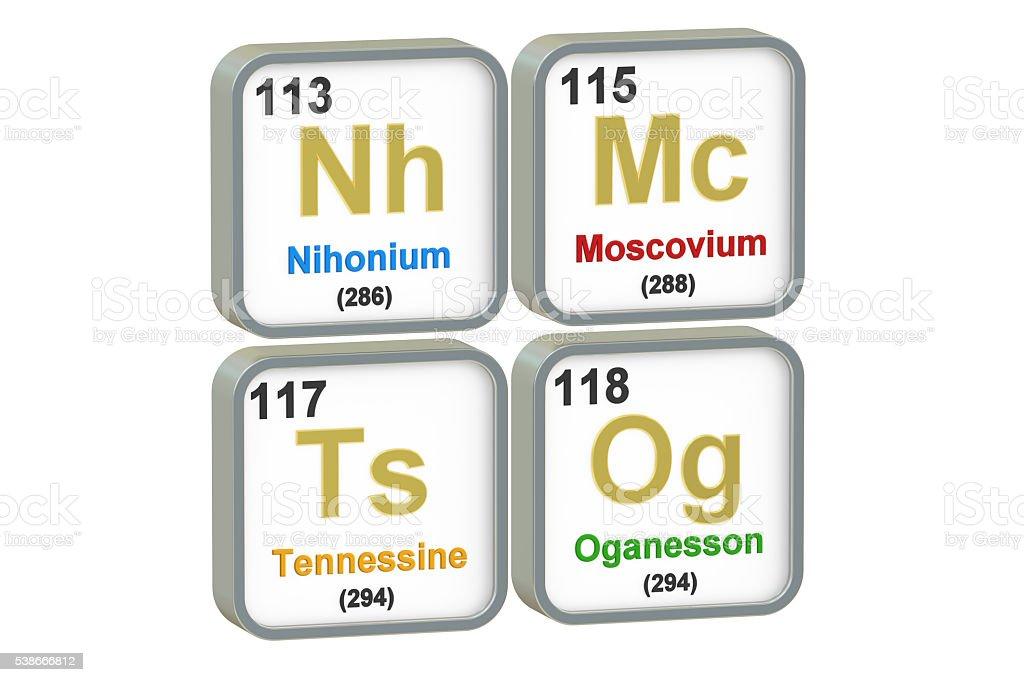 Nihonium, Moscovium, Tennessine, Oganesson chemical elements, 3D stock photo