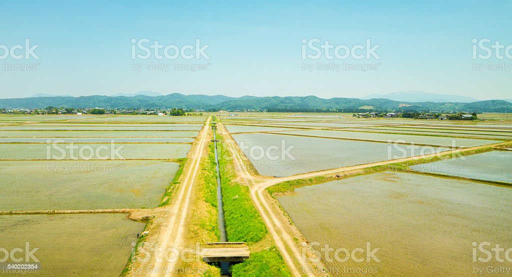 Niigata area Japanese rice fields in Springtime with irrigation canal stock photo