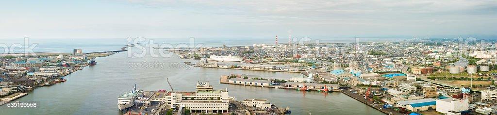 Niigata Harbor aerial panoramic view stock photo