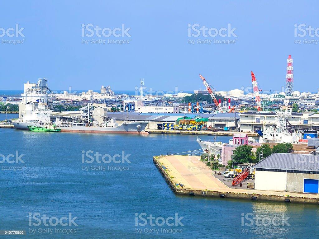 Niigata Port in North Sea of Japan stock photo