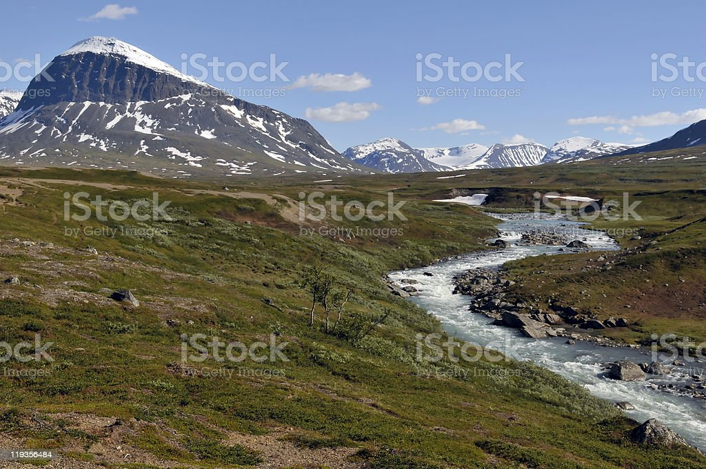 Nijak Mountain and wild river stock photo
