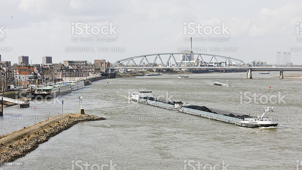 Nijmegen at the Waal river stock photo
