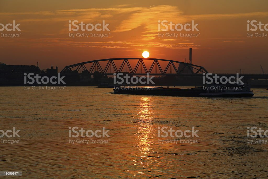 Nijmegen Railroad bridge in sunset royalty-free stock photo