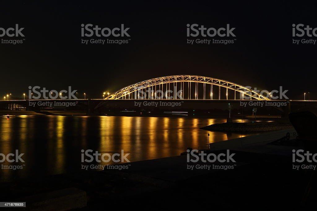 Nijmegen road bridge by night stock photo