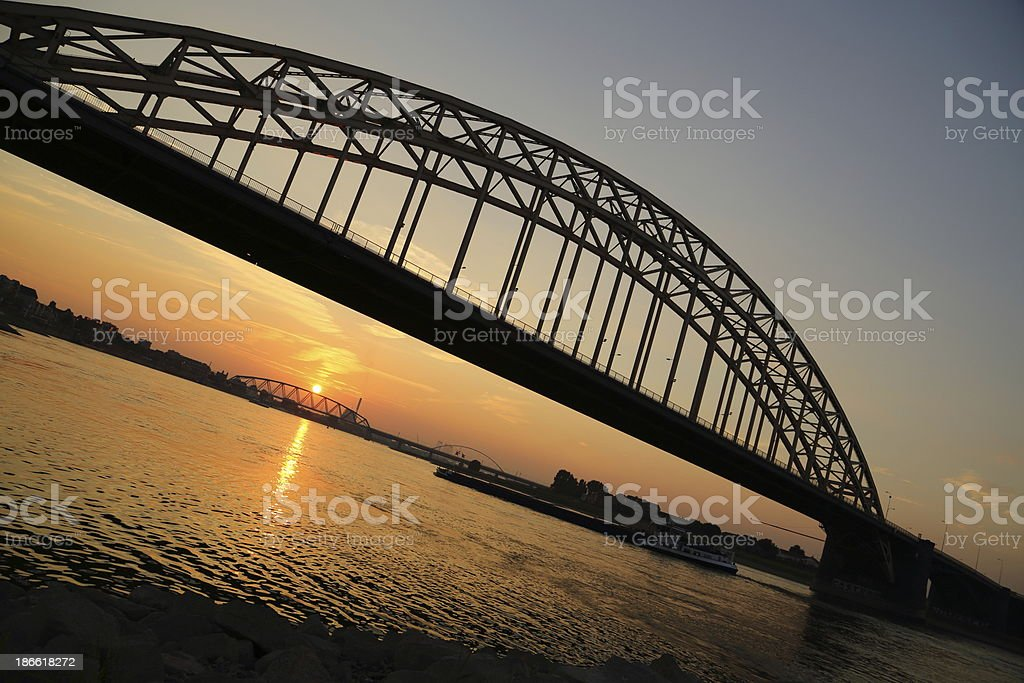 Nijmegen road bridge in sunset royalty-free stock photo
