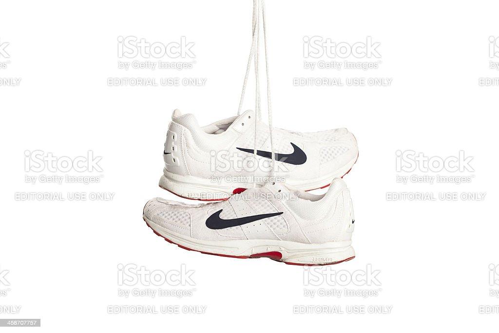 Nike running shoes on white stock photo