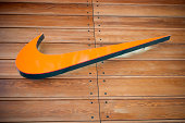 Nike store logo, London, UK