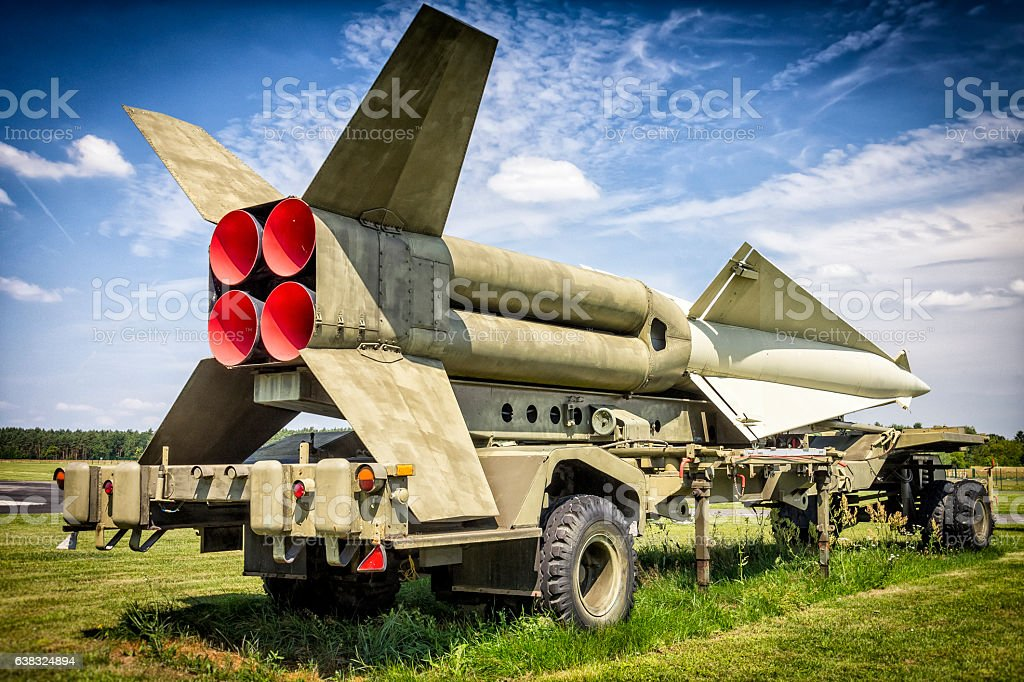 US Nike-Hercules Missile on the trailer stock photo