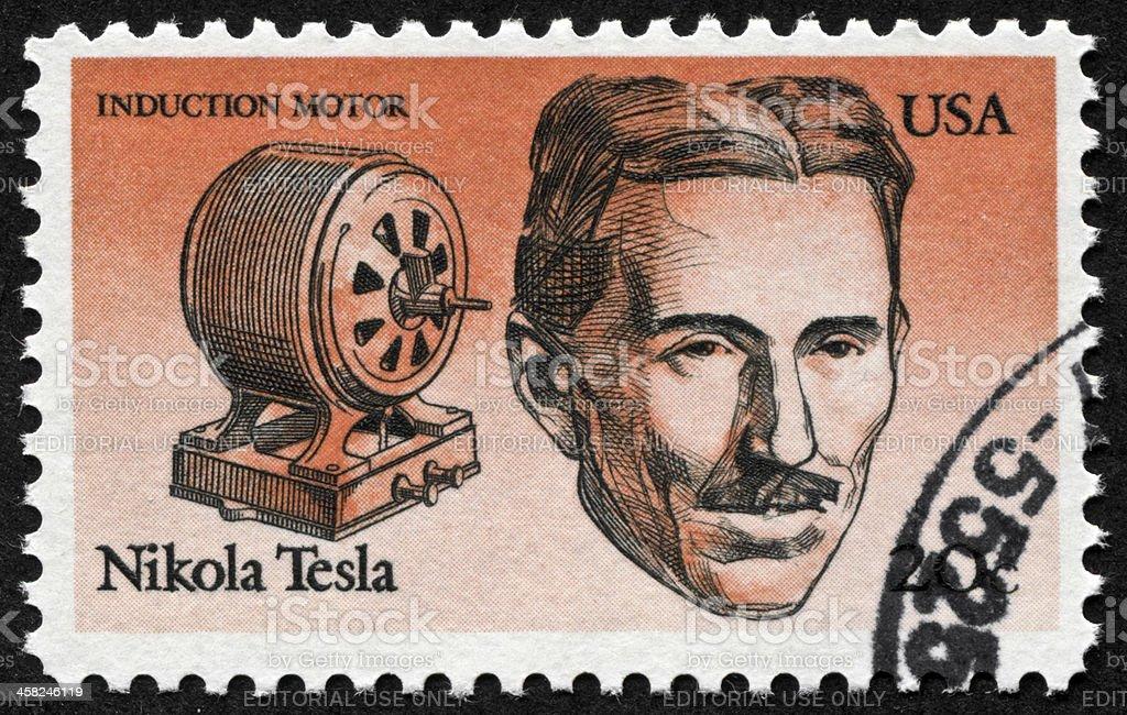 Nikola Tesla Stamp stock photo