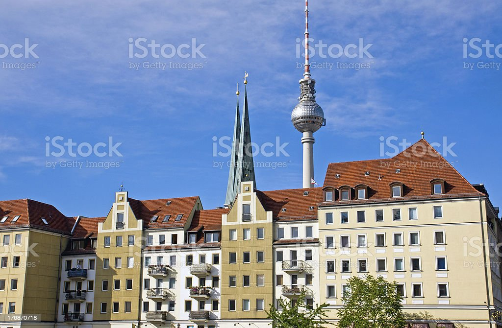 Nikolaiviertel and TV-tower in Berlin royalty-free stock photo