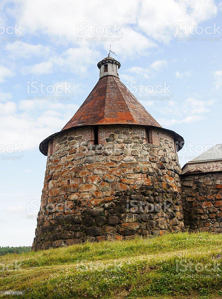 Nikolskaya tower of Solovetsky Monastery stock photo