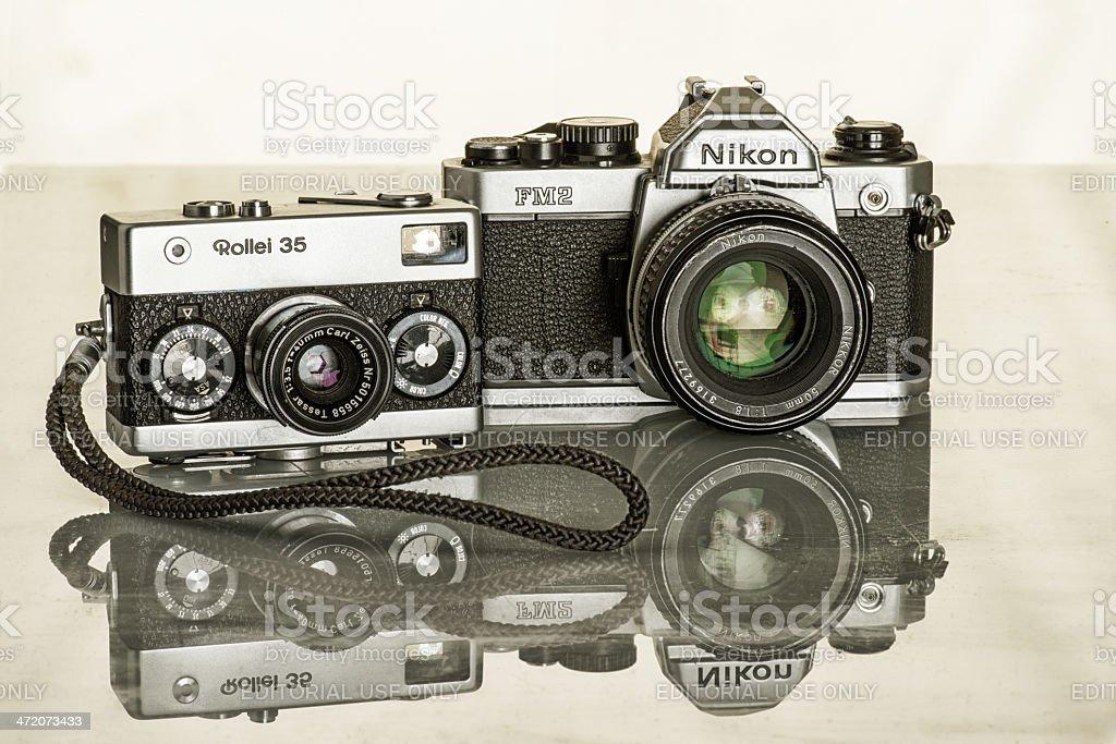 Nikon And Rollei stock photo