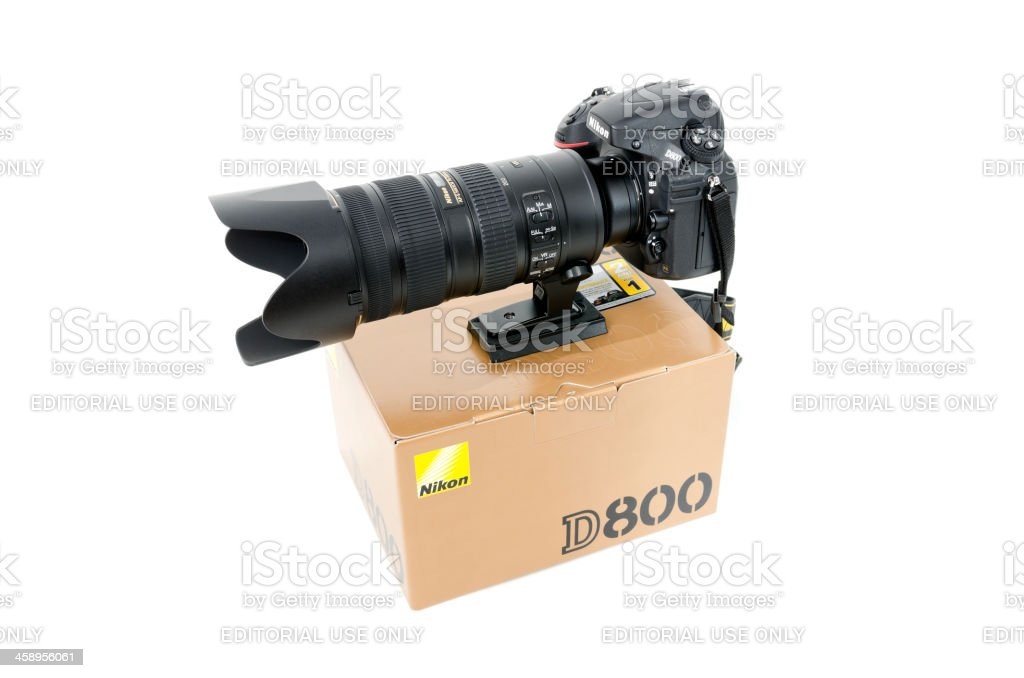 Nikon D800 and box, isolated on white stock photo