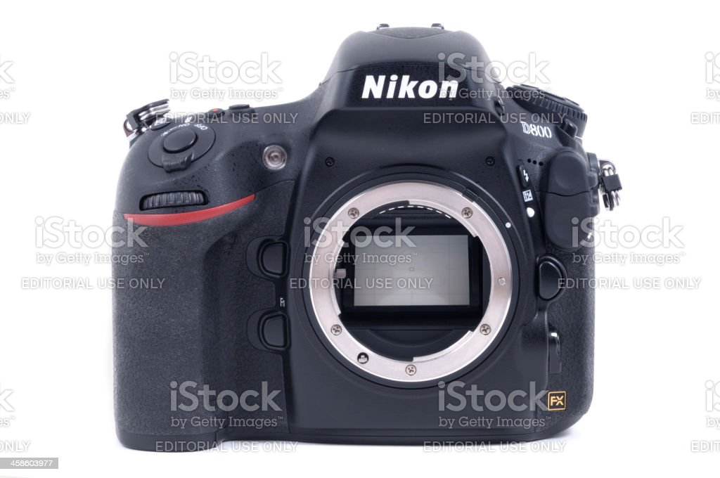 Nikon D800 Body Showing Reflex Mirror and Lens F-Mount stock photo