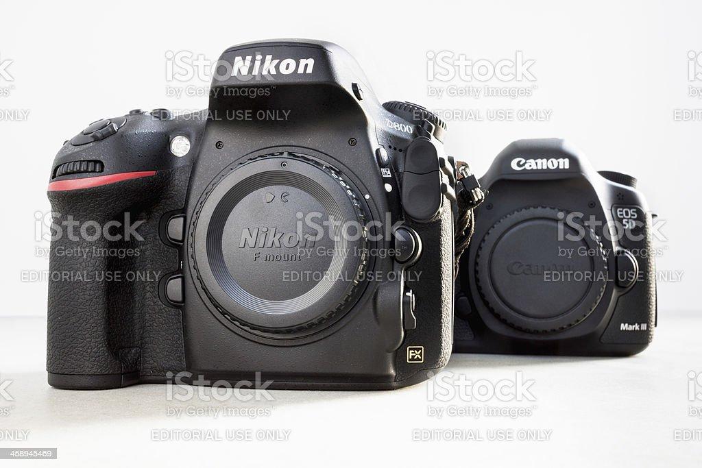 Nikon D800 vs. Canon 5D Mark III stock photo