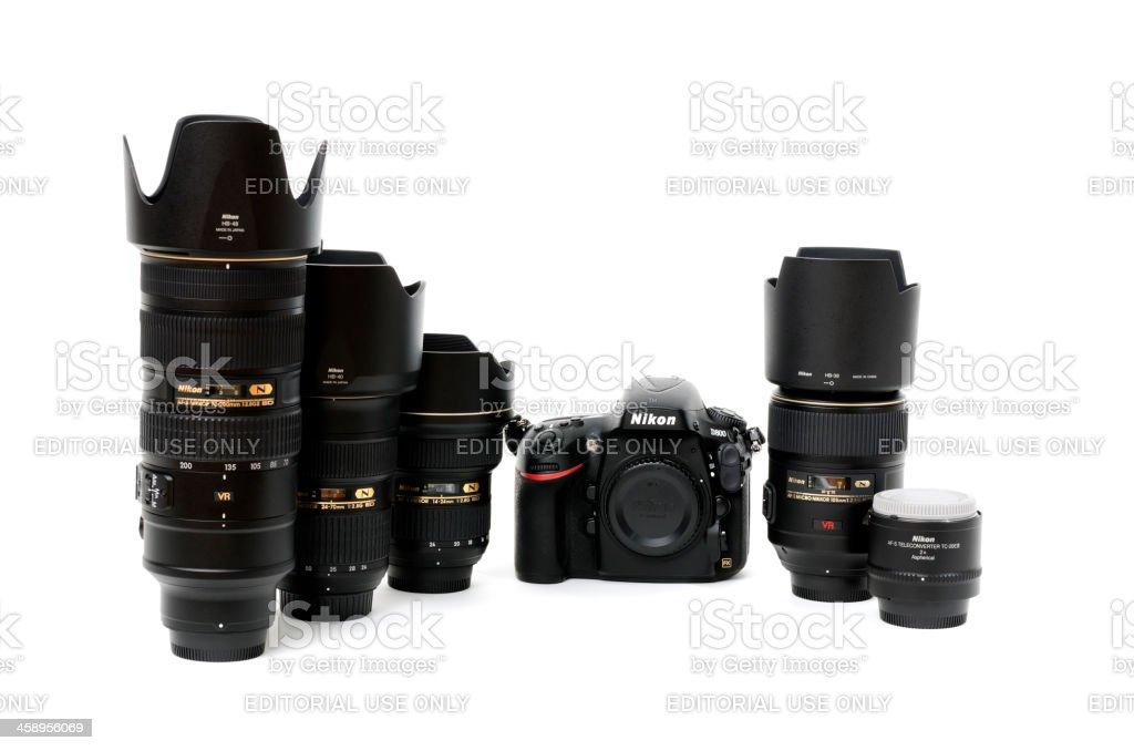 Nikon D800 with Nikkor 14-24, 24-70, 70-200, 105, TC-20E III stock photo