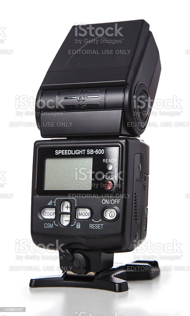 Nikon SB-600 electronic flash interface view stock photo