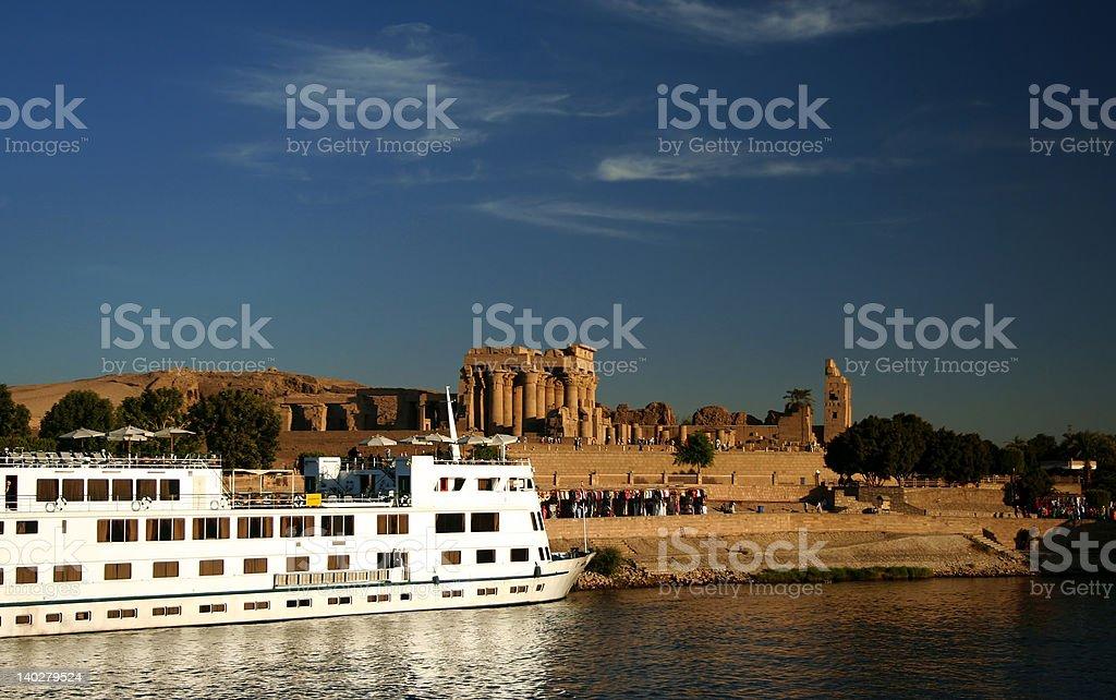 Nile Cruise Boat at Kom Ombo royalty-free stock photo