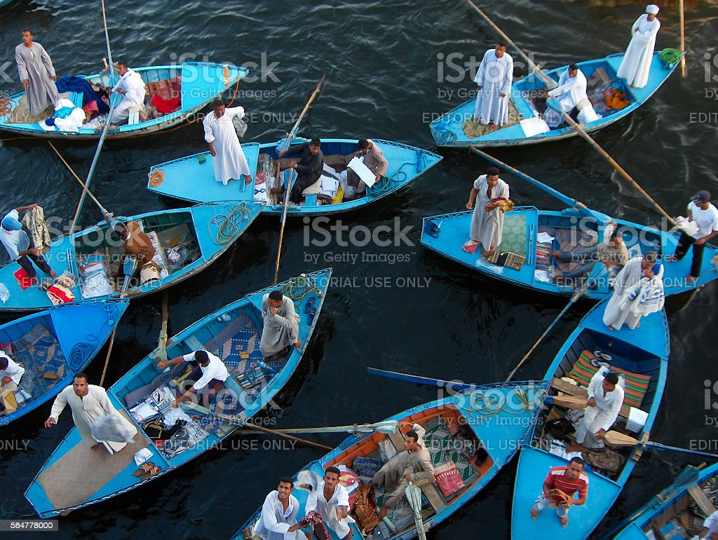 Nile Merchants at Esna stock photo
