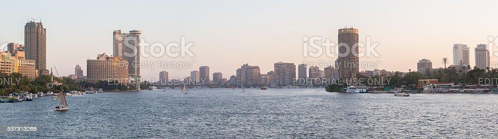 Nile river and Cairo skyline stock photo
