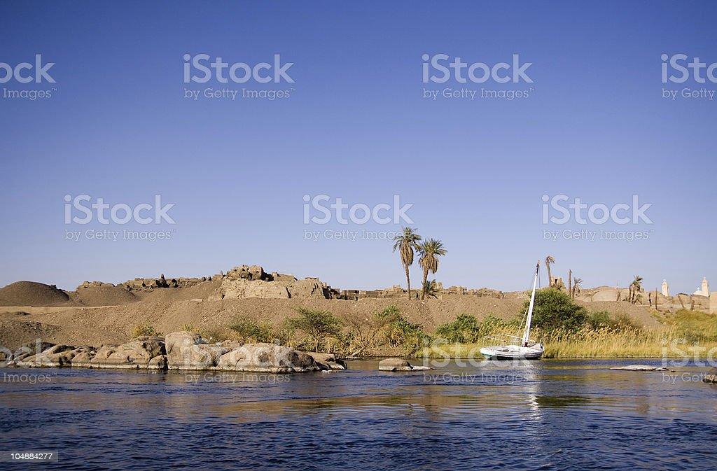 nile river in aswan stock photo
