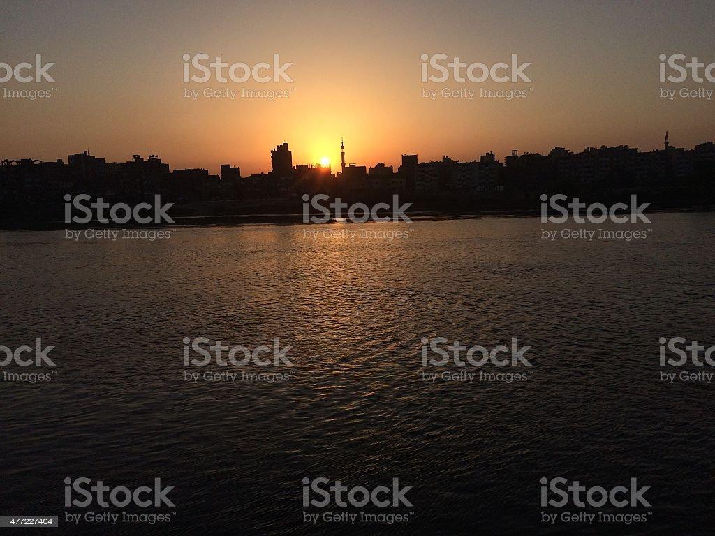 nile river sunset ; cairo stock photo