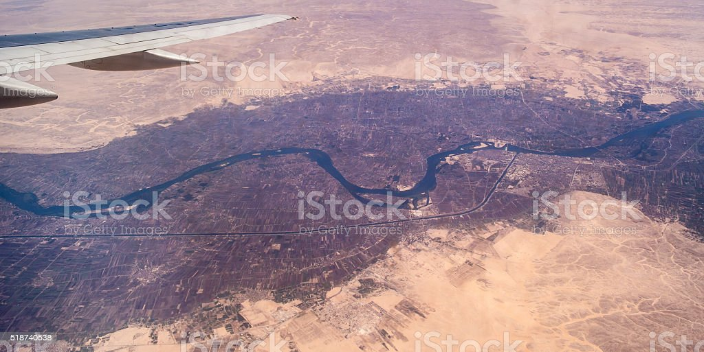 Nile River Valley under the wing of an airplane stock photo