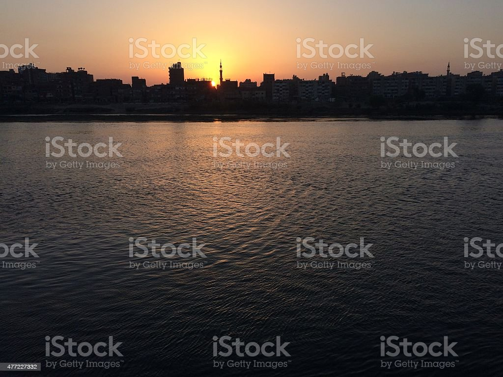 nile sunset , cairo stock photo