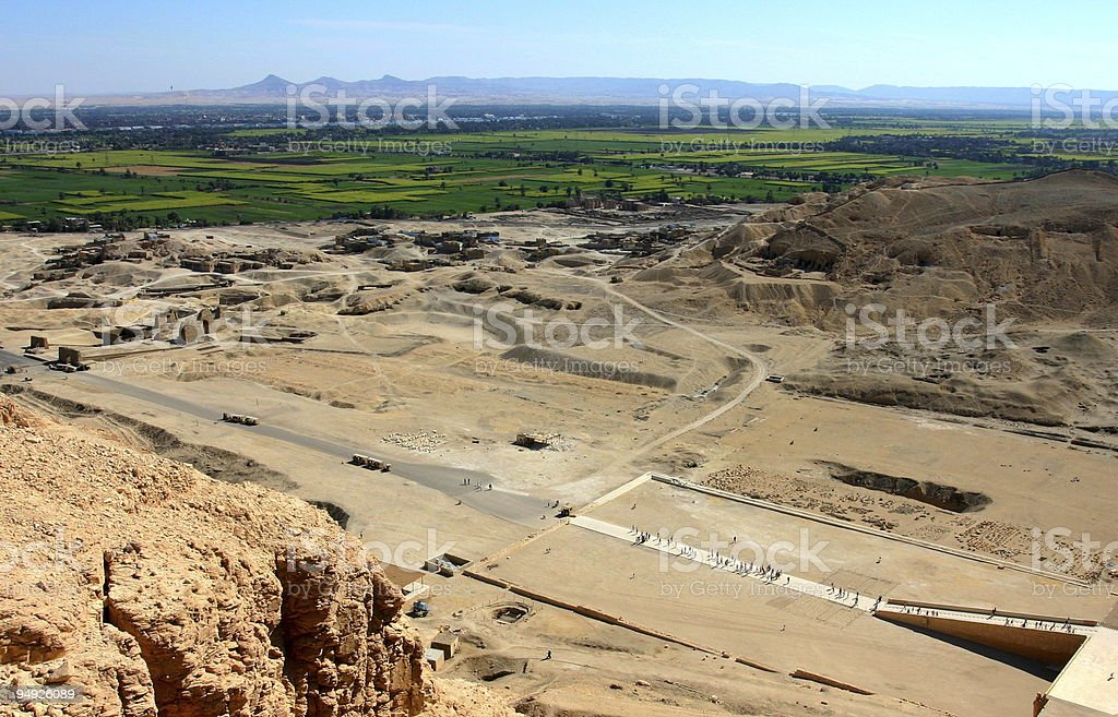 Nile Valey view from above Hatshepsut's temple stock photo