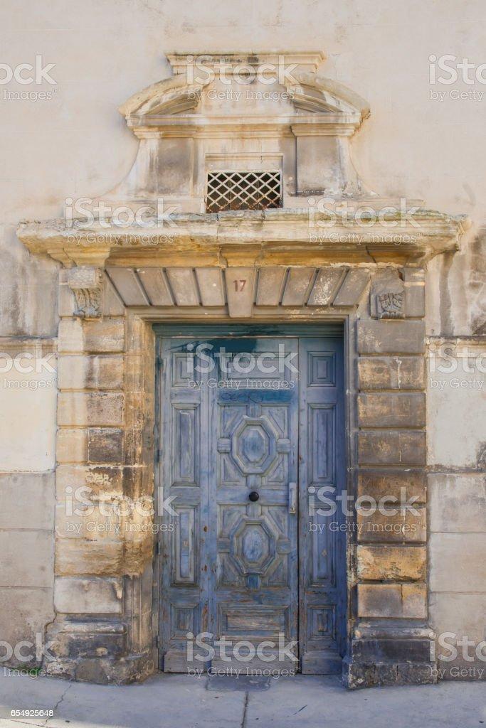 Nimes, France, blue gate stock photo