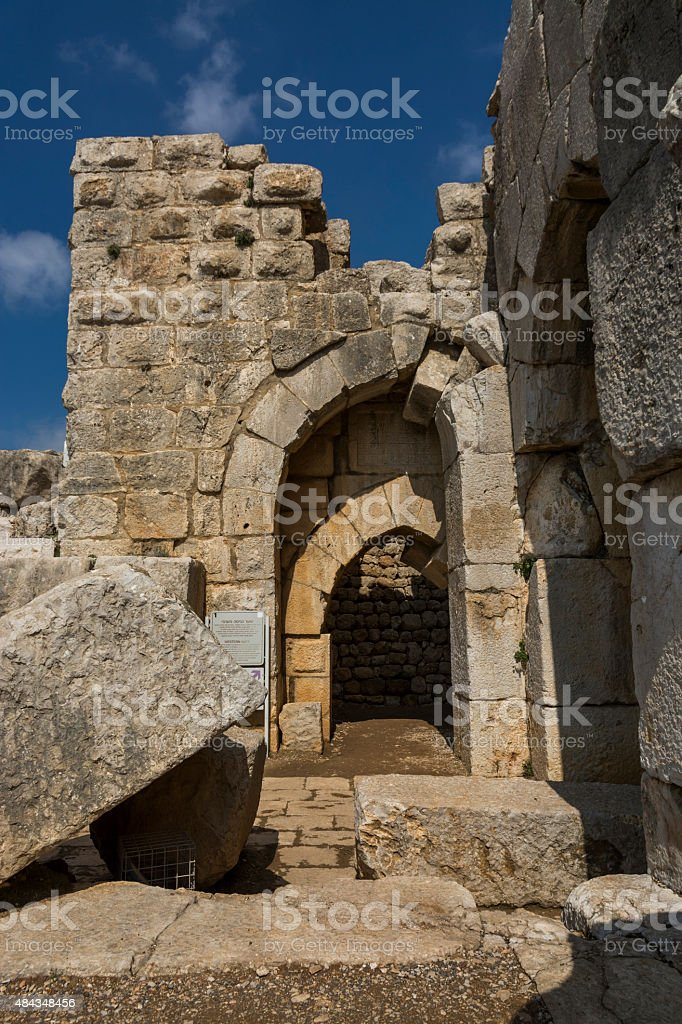 Nimrod Fortress gate stock photo
