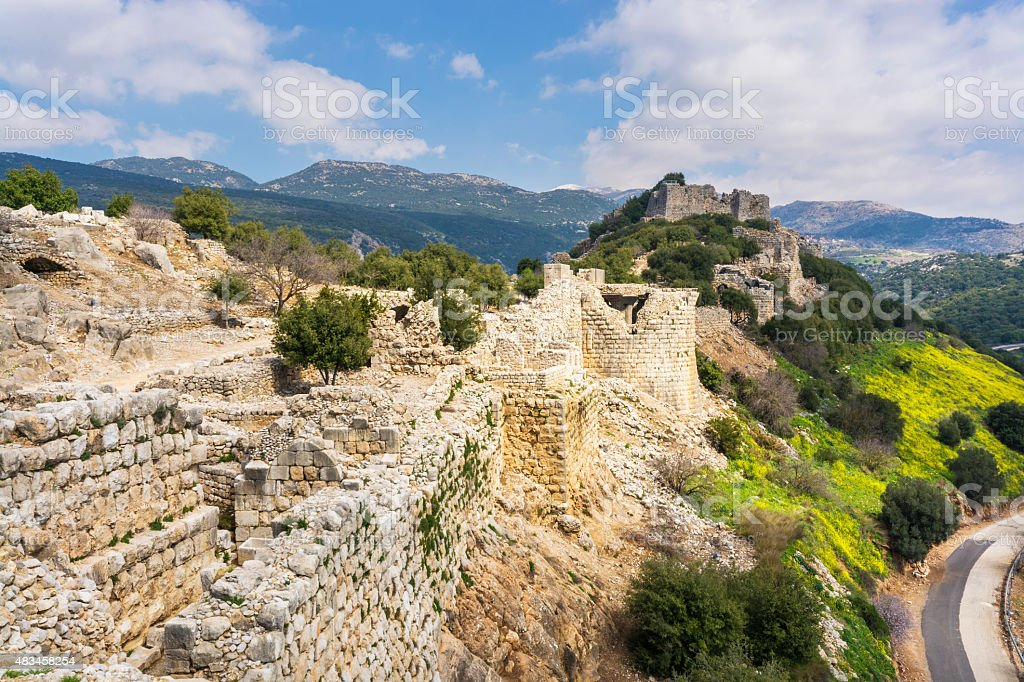 Nimrod Fortress walls and towers stock photo