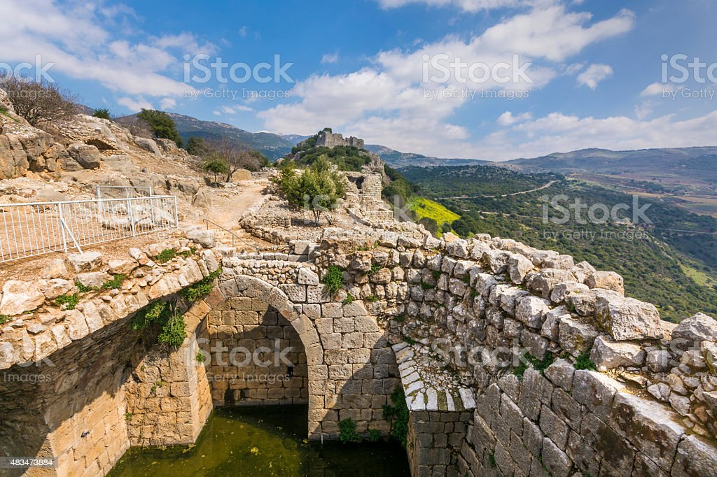 Nimrod Fortress water resrvoir and towers stock photo