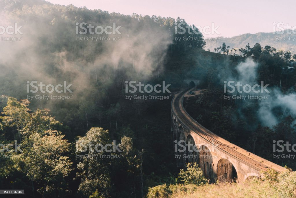 Nine Arch Bridge in Sri Lanka stock photo