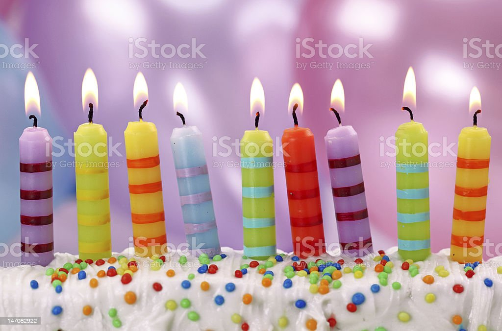 Nine birthday candles royalty-free stock photo