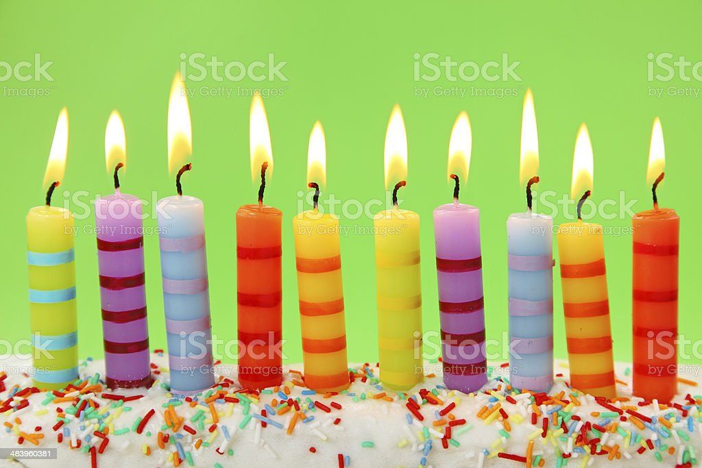 Nine birthday candles royalty-free stock photo