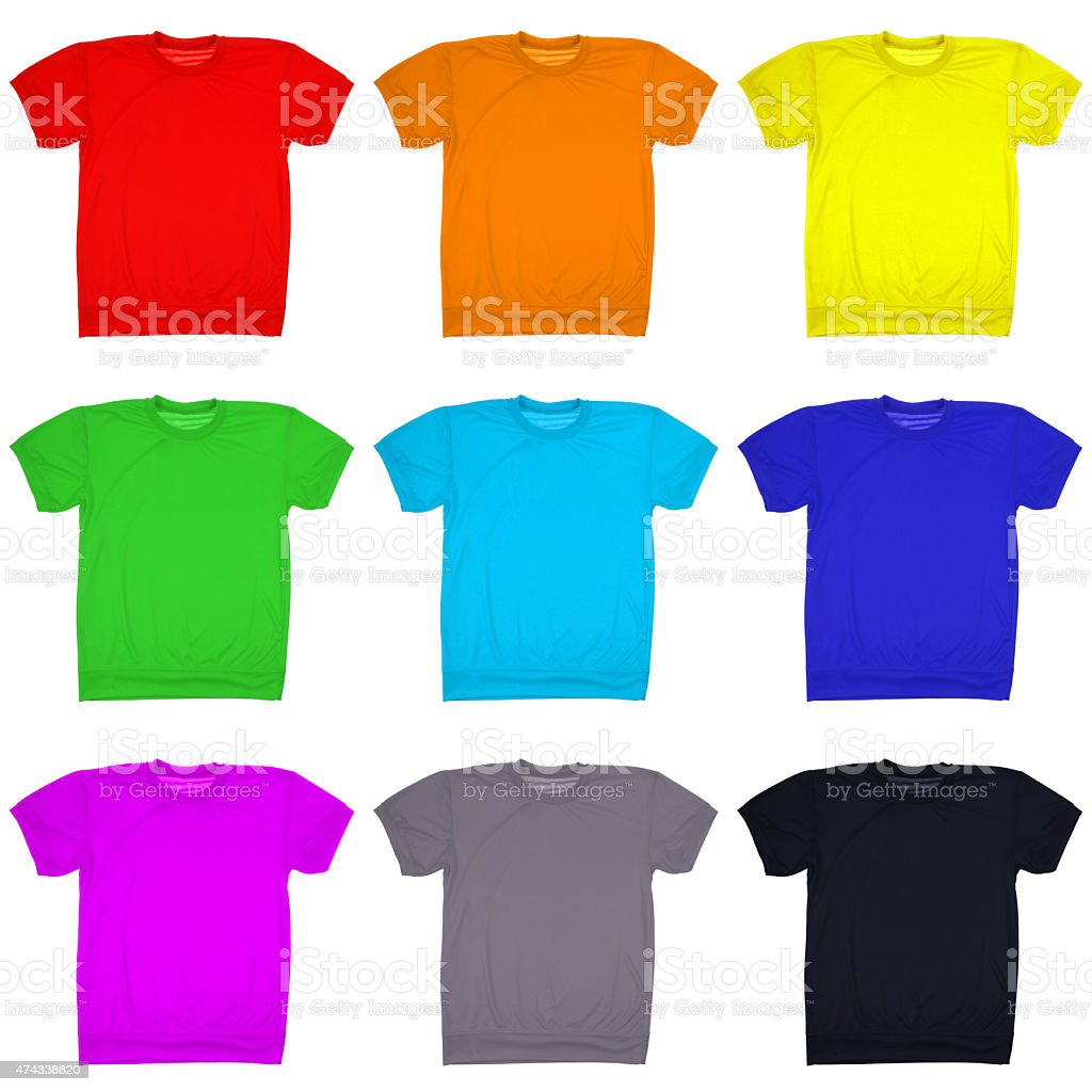 Nine blank t-shirt isolated on white. (Clipping path) stock photo