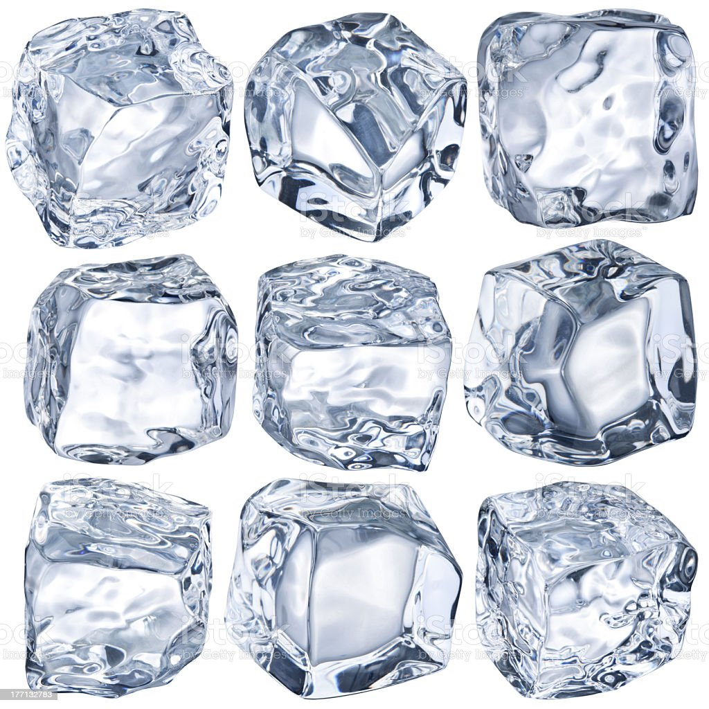 Nine cubes of ice on a white background royalty-free stock photo