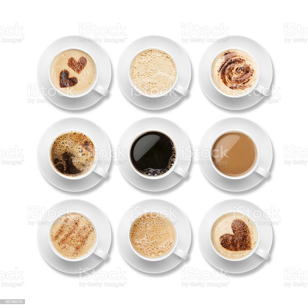 Nine different coffees in white cups with saucers stock photo