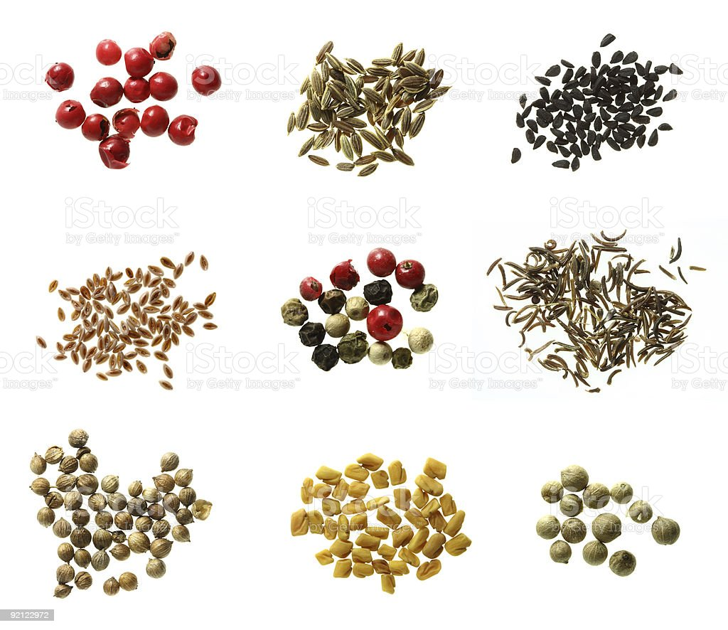 nine different kinds of spices super macro shots xx-large stock photo