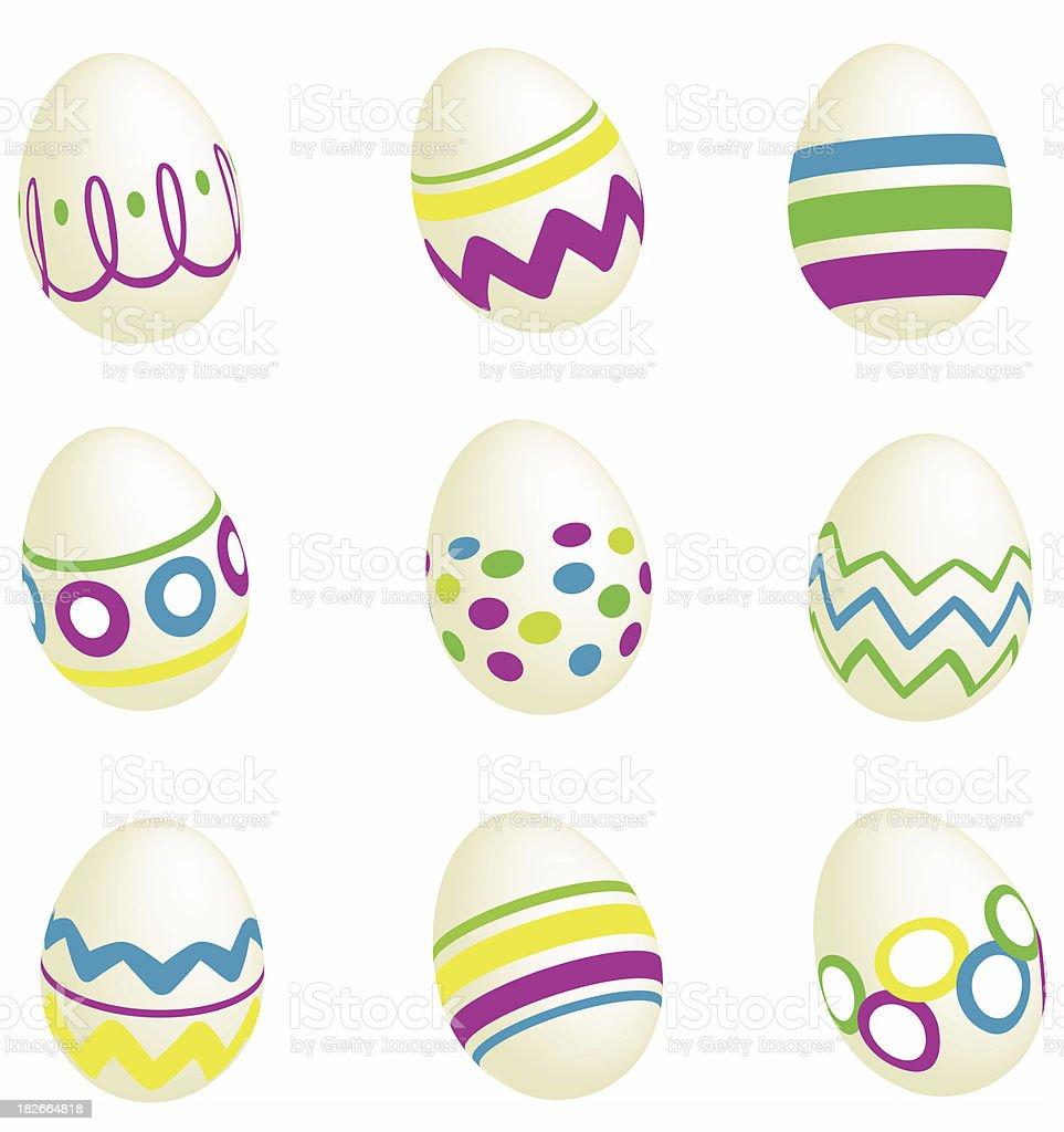 Nine Easter Eggs royalty-free stock photo