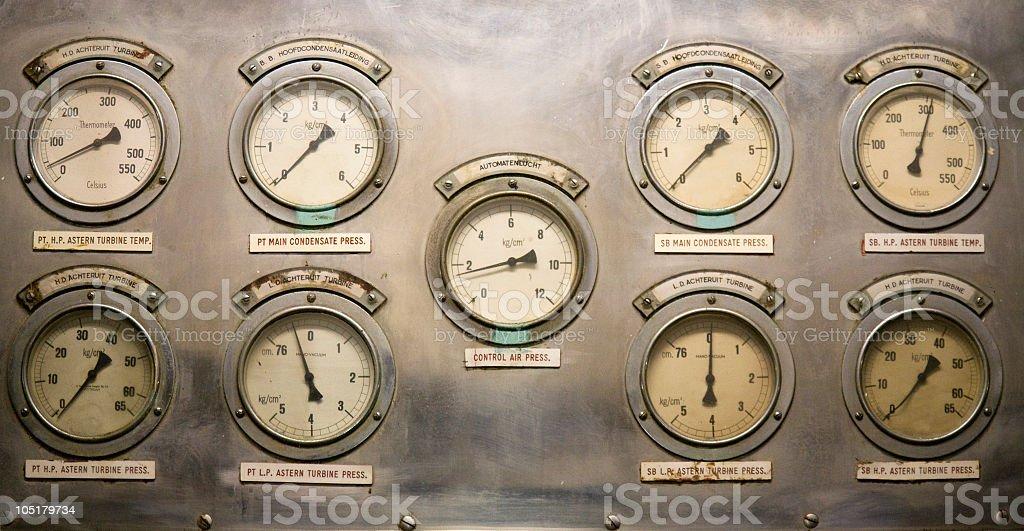 Nine gauges on metal interface stock photo