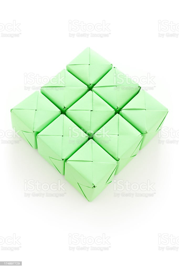 Nine green cubes royalty-free stock photo