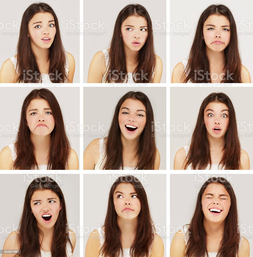 Nine images of a girl with different facial expressions stock photo
