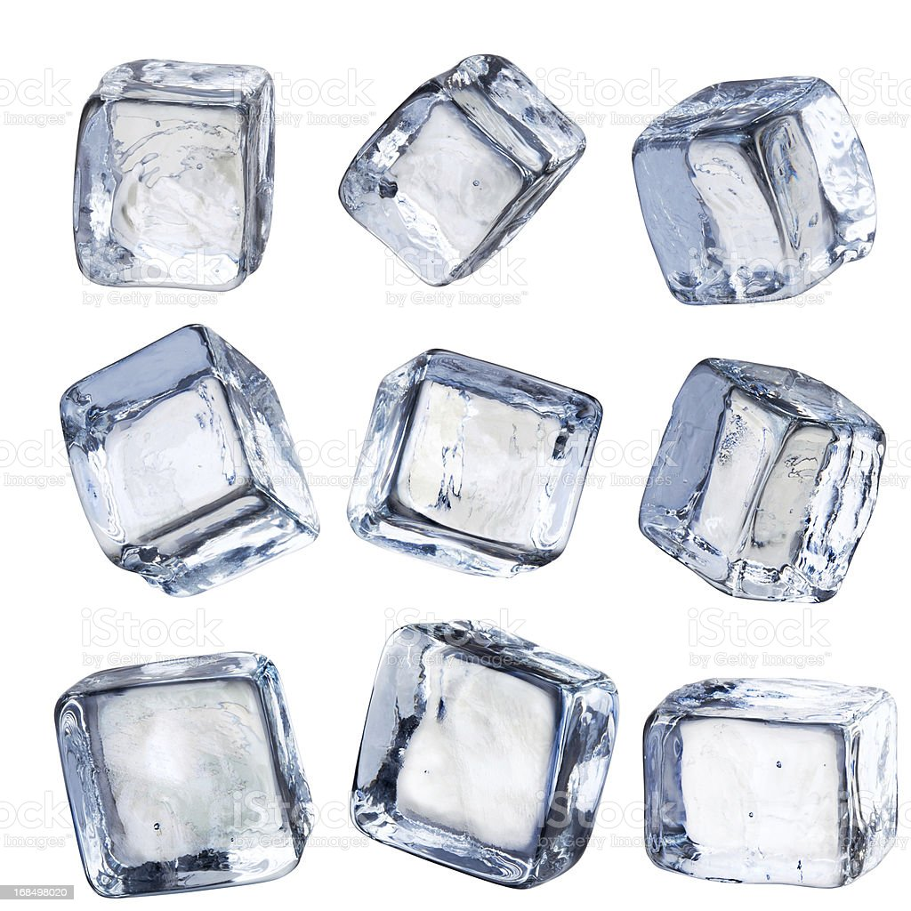 Nine Individual Square Ice Cubes Isolated with Clipping Path stock photo