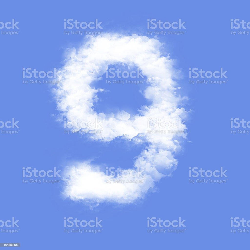 A nine made out of clouds on a blue background stock photo