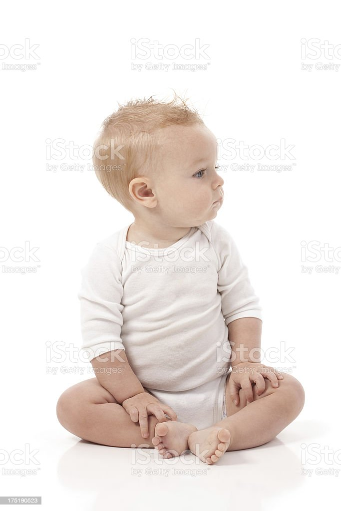Nine Month Old Baby on White Background stock photo