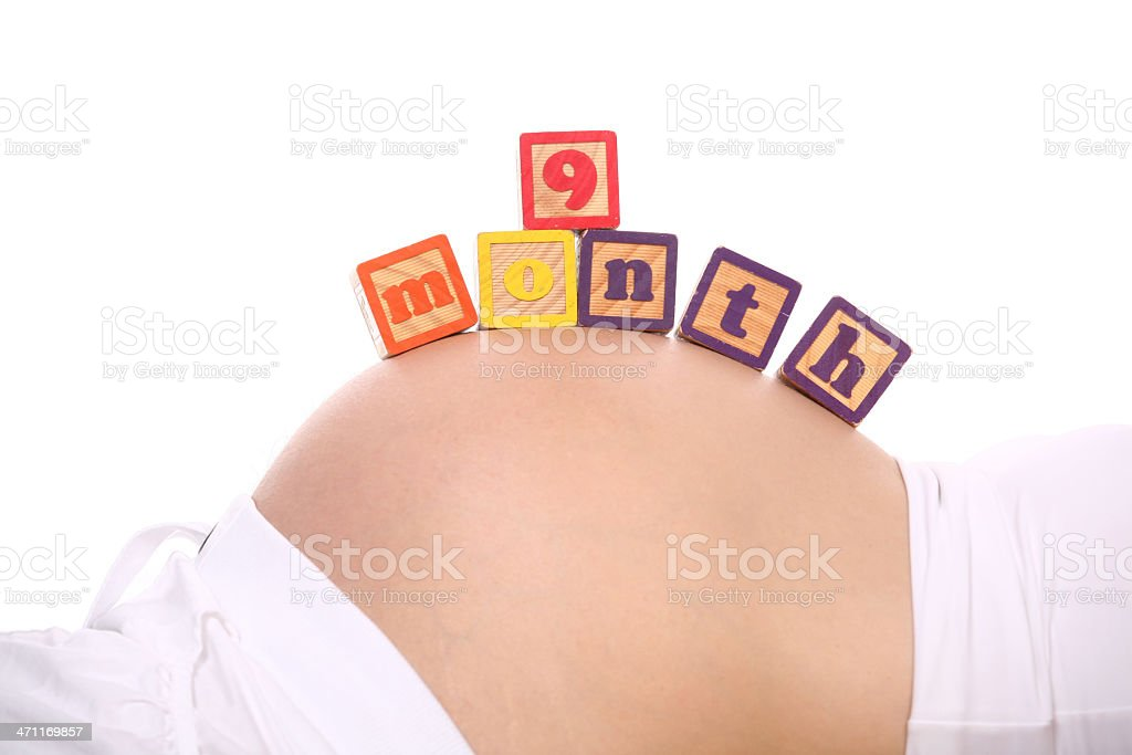Nine month pregnant royalty-free stock photo