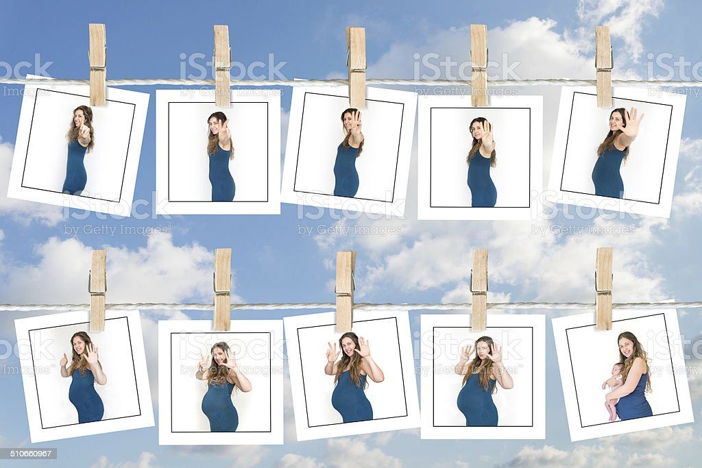 nine months stages of pregnancy stock photo