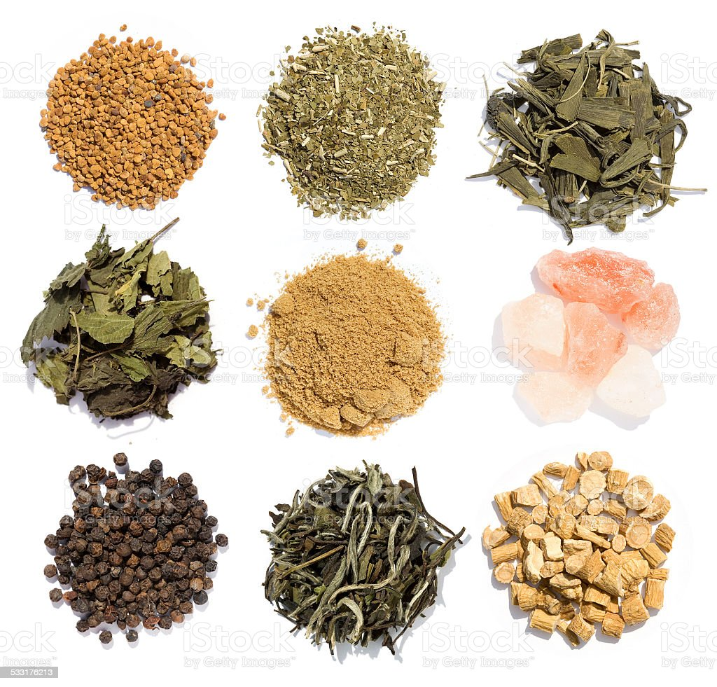 Nine powerful spices stock photo